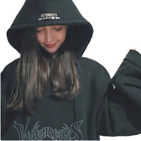 2016 New fashion bigbang style autumn winter letters printed vetements oversize design hooded Sweatshirt women outerwear