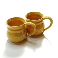 Two Ceramic mugs,butter yellow mug,espresso cup,pottery cup,pottery mug,pottery dinnerware,clay coffee cup,wheel thrown mug,canadian pottery