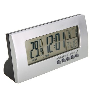 Modern Digital Alarm Clock LCD Display Calendar Snooze Thermometer Alarm Clock Office Desktop Table Clock