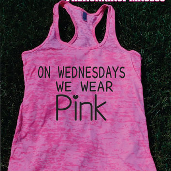 On Wednesdays We Wear Pink Burnout Tank top.Womens crossfit tank.Funny exercise tank.Running tank top. Bootcamp tank.Sexy Gym Clothing