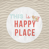Round Beach Towel This Is My Happy Place Quote Teal Coral Large Beach Blanket Towel