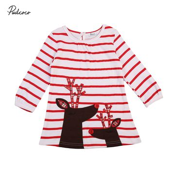 Newest Baby Girls 2017 New Christmas Xmas Reindeer Little Girls Cute Long Sleeve Striped Dress One Piece