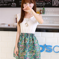 Women : Sets chiffon floral mini skirt sleeveless top ghl3433