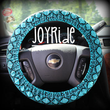 Steering Wheel Cover Turgoise Teal Snakeskin Animal Print Tribal