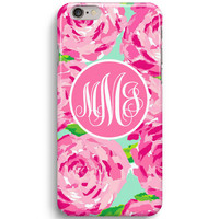 Pink Rose Custom First Impression Monogram Inspired Lilly Pulitzer iPhone 6 Case, iPhone 5S Case