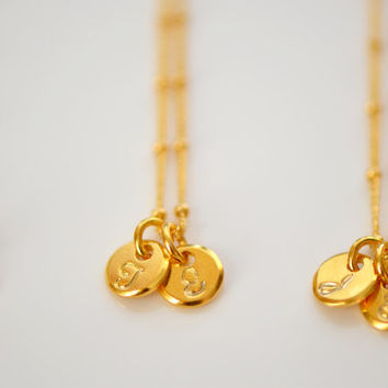 Dainty Gold Vermeil Initial Necklace, Personalize Initial Necklace, Everyday Necklace, Monogram Necklace, Mother's Necklace, New Mom Gift