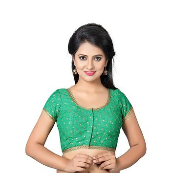 Designer Indian Traditional Green Dupion Silk Padded  Half Sleeves Saree Blouse Choli (Co-455Sl)
