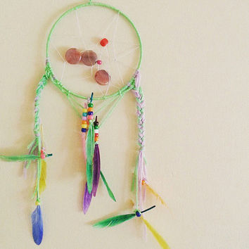 "7"" Dream Catcher, Minty Green and Lavender, Gift for him, Gift for her, gift for baby, bohemian, bedroom decor ideas, Home and Living, Boho"