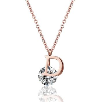 New Arrival D Letter Clip Shiny Large Crystal Necklace Pendant For Women Stainless Steel Rose Gold Love Collier Woman Collar