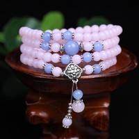 Chalcedony Tibetan Buddhist 108 Prayer Necklace Prayer Mala