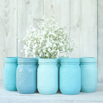 6 Painted mason jars. Wedding centerpieces. Blue mason jars. Turquoise decor, bulk mason jars