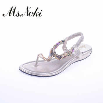 Ms. Noki Bling Bling Crystal sandal women shoes Summer 2017 fashion Elastic band casual shoes Bead string with comfortable shoes