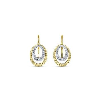 14K Yellow and White Gold Pave Diamond Double Oval Drop Earrings