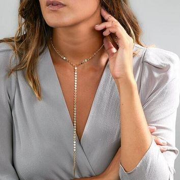 Fashion Personalized Sequin Clavicle Necklace 171120