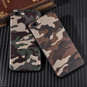 Camo Camouflage Phone Cases For iPhone 7 7 Plus For iPhone 6 6S 7 Plus X 10 ArmyGreen Leather Soft TPU Cover Case