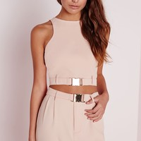 Missguided - Petite Sleeveless Buckle Detail Crop Top Nude