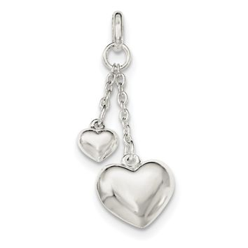Sterling Silver Polished Puffed Heart Pendant QC8461