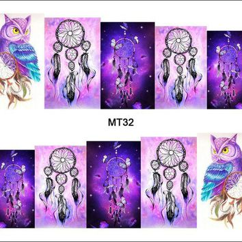 ONETOW 1 Sheet Nail MT32 Full Cover Dream Catcher Owl POP Nail Art Water Transfer Sticker Decal For Nail Art Tattoo DIY Nail Tool