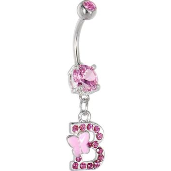 "Pink Gem Butterfly INITIAL Dangle Belly Ring - LETTER ""B"""