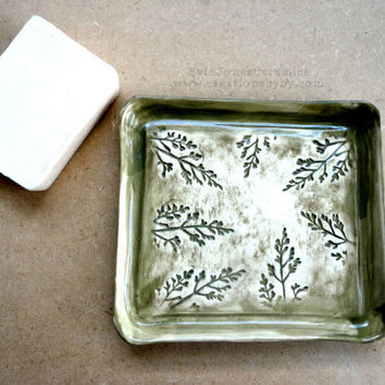 Cute Ceramics soap Dish, Dark green, Square, Botanical theme Plants, Branches, Flowers, Classic, Shabby Chic, Rustic style, Large