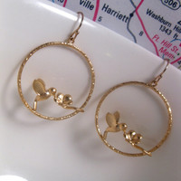 Honeysuckle Flower Bird Hoop Earrings With 14k Gold