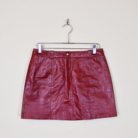 Vintage 90s Oxblood Burgundy Maroon Red Leather Skirt Leather Mini Skirt 90s Skirt Grunge Skirt 70s Skirt Boho Skirt Hippie Skirt M Medium