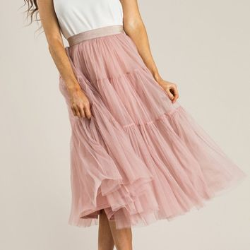Alicia Dusty Rose Tulle Midi Skirt