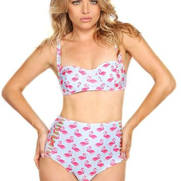 Pink Flamingo Retro High Waist Bikini