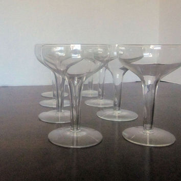 Vintage Hollow Stem Champagne Coupe, Champagne Glass Set of 8 Great Gatsby, Vintage, Classic, Old Fashioned