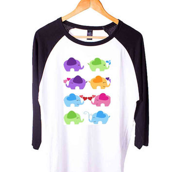 Elephants Short Sleeve Raglan - White Red - White Blue - White Black XS, S, M, L, XL, AND 2XL*AD*