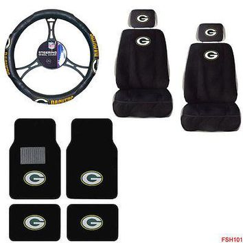 Licensed Official NFL Green Bay Packers Car Truck Seat Covers Steering Wheel Cover Floor Mats Set