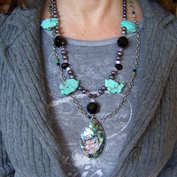 Turquoise Slice & Grey Pearls Statement Necklace with Large Abalone Pendant