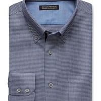 Banana Republic Mens Tailored Slim Fit Non Iron Micro Houndstooth Button Down Shirt