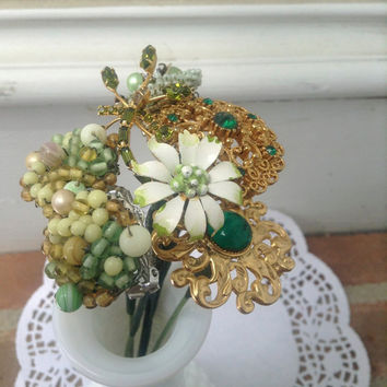 Wedding Bridal Brooch Bouquet Lot Bundle Vintage rhinestone enamel Antique Green floral stems picks