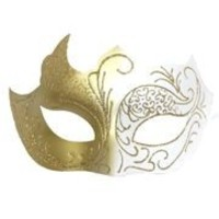 White and Gold Masquerade Mask with Gold Glitter Scrollwork
