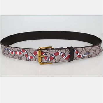 GUCCI fashion man women Smoothing belt Tiger print belt H
