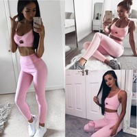 2018 Pink Hollow Women Elastic Suit Fitness Clothing Workout Wear Tank Top Pant Outfit Set