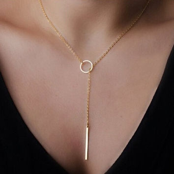 2014 Fashion jewelry Metallic long and circle Pendant 18K Gold plated Trendy necklace for women party/Gift = 4806890308