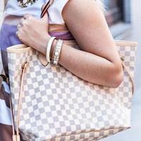 Louis Vuitton LV Fashion Monogram Check Leather Shoulder Bag Shopping Leisure Handbag  Two Piece Suit Women