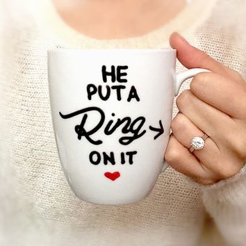 Personalized mug, Engagement Gift Mug, Hand painted, he put a ring on it mug, Bridal shower gift, Ceramic Coffee mug, latte mug