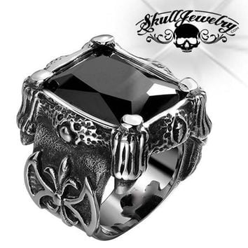 'Blood Templars' Black Gemstone Ring (464BLACK)