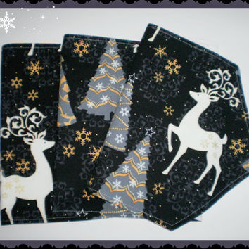 Table Runner Reindeers Christmas Trees Grey Gold Handcrafted Oblong Holiday Decor Table Accent Holiday Basket Accent Free Shipping