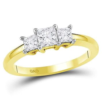 14kt Yellow Gold Women's Princess Diamond 3-stone Bridal Wedding Engagement Ring 3/4 Cttw - FREE Shipping (US/CAN)