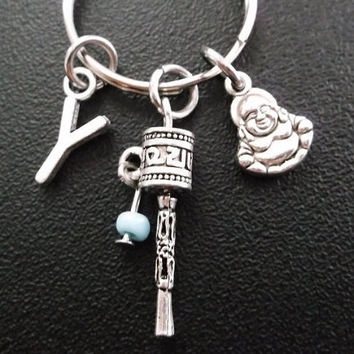 Prayer wheel and Buddha keyring, keychain, bag charm, purse charm, monogram personalized custom gifts item No.306