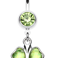 Lucky Four Leaf Clover Dangle Belly Button Ring