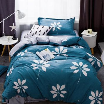 2018 White Flowers Blue Duvet Cover Set 3PC Bedding Set Twin Size Children Students Bedlinens Cotton Linen Sheet Pillowcase