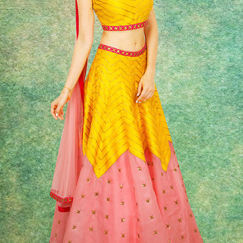 Women's Raw Silk Fabric & Yellow Pretty Circular Lehenga Style