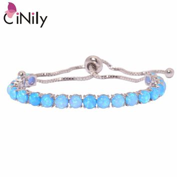 "CiNily Created Blue White Fire Opal Silver Plated Wholesale Fashion Jewelry for Women Gift Adjustable Bracelet 4 5/8""x2 OS592-93"
