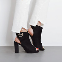Summer Fashion Sandals Hollow Buckle Exposed Toe Boots Shoes Women Thick Heel Heels Shoes