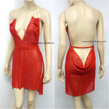 Red Sexy Luxury Party Metal Crystal Diamond Chain Halter Plunge Dress - Backless